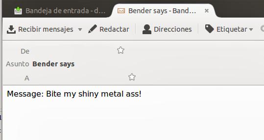 Email enviado por Bender