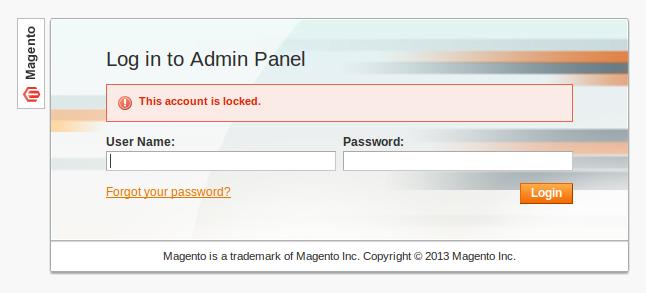 Cuenta bloqueada en Magento