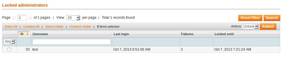Desbloqueo de cuentas de usuario en Magento EE