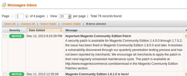 Mensaje del nuevo patch para Magento