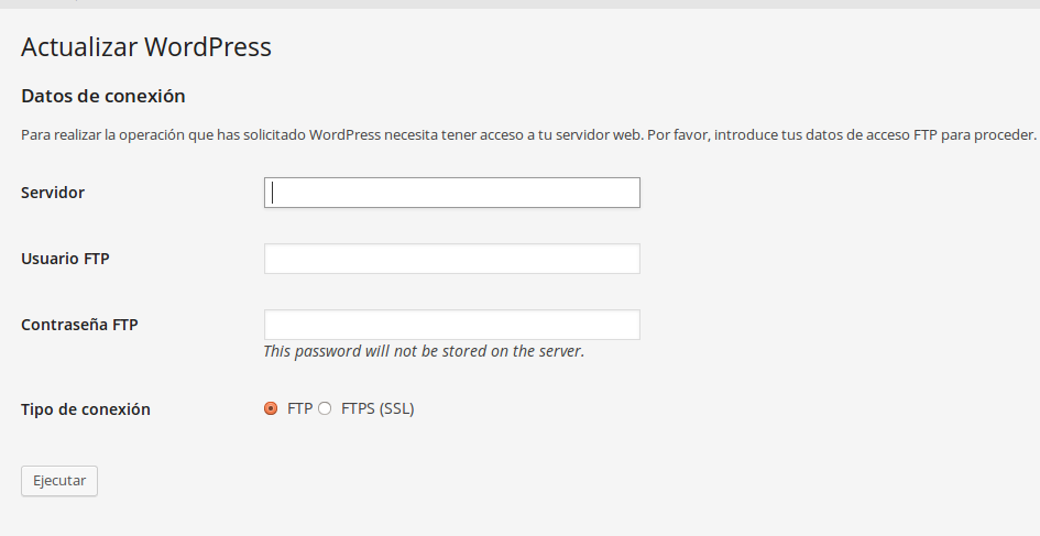 Credenciales FTP en WordPress