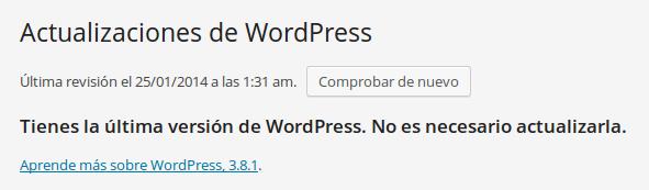 Resultado de la actualización de WordPress en localhost