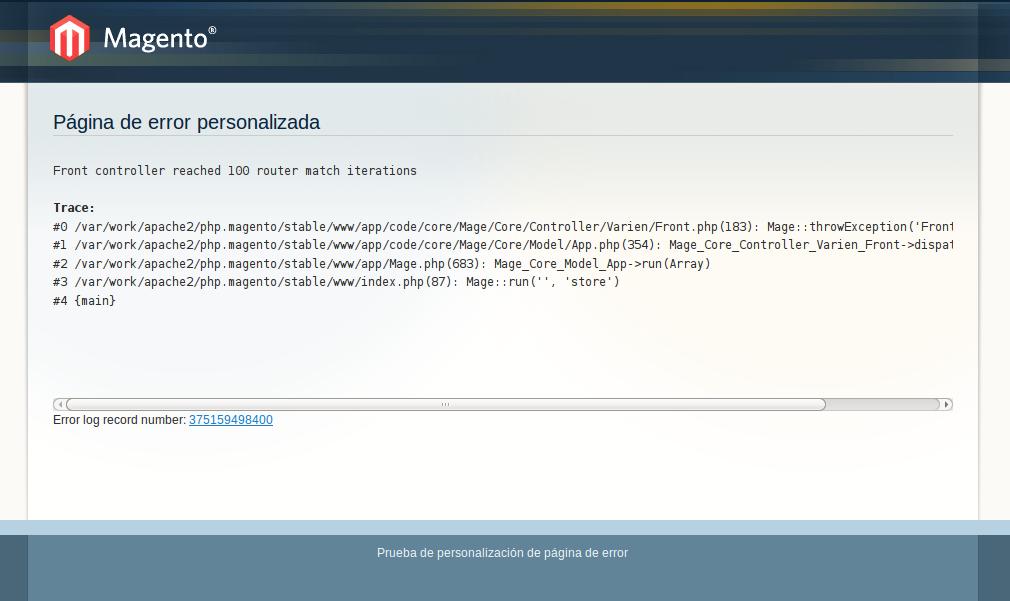 Error personalizado con traceroute en Magento