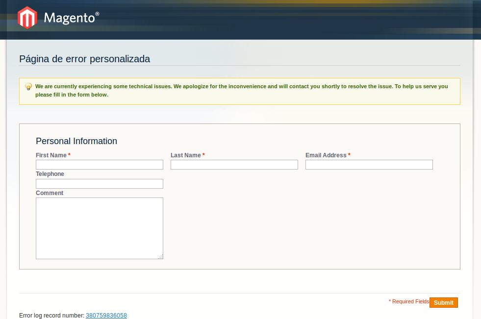 Error personalizado con envío de email en Magento