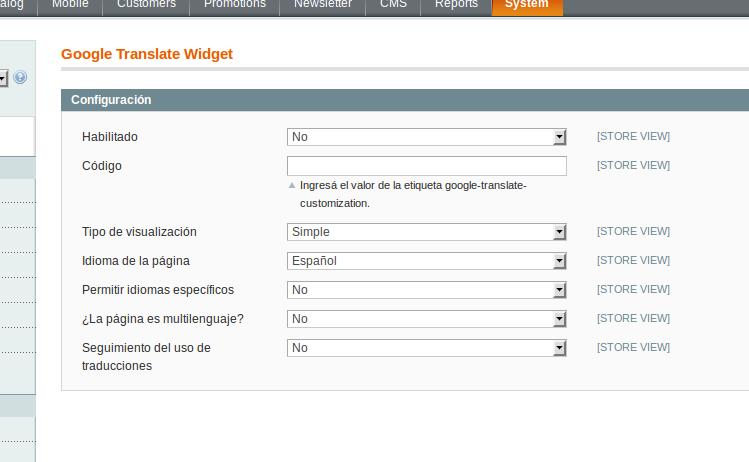 Opciones de configuración de Dc_GoogleTranslateWidget