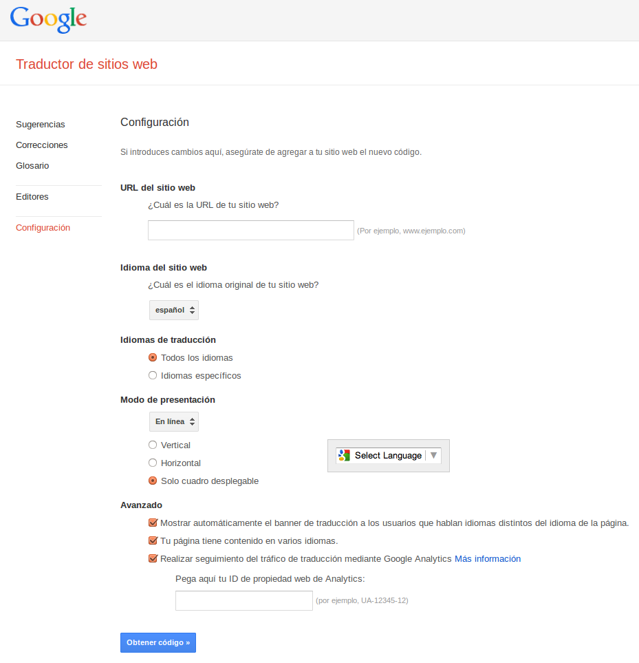 Configuración en Google Translate Toolkit