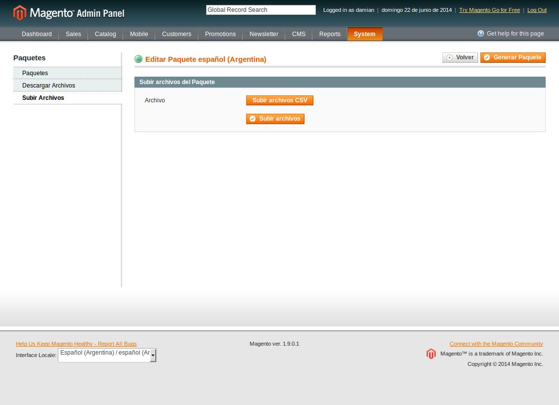 Subida de archivos CSV al paquete de idioma