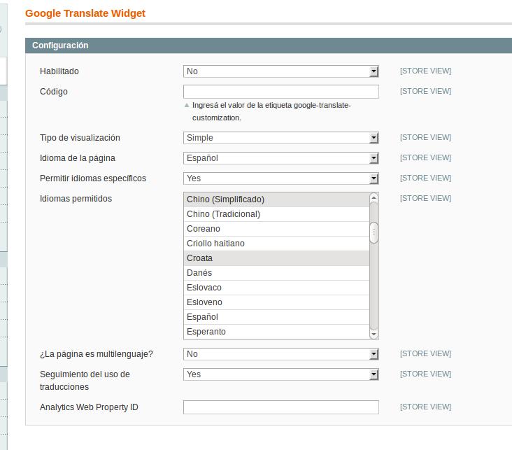 Configuración de Google Translate Widget en Magento