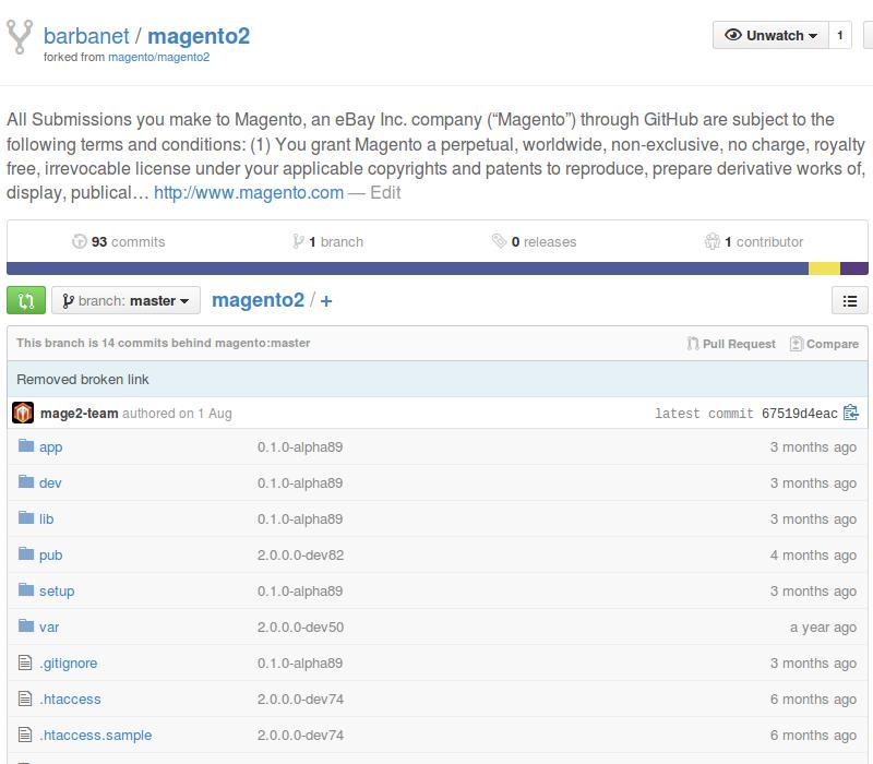 Fork de Magento2 en GitHub