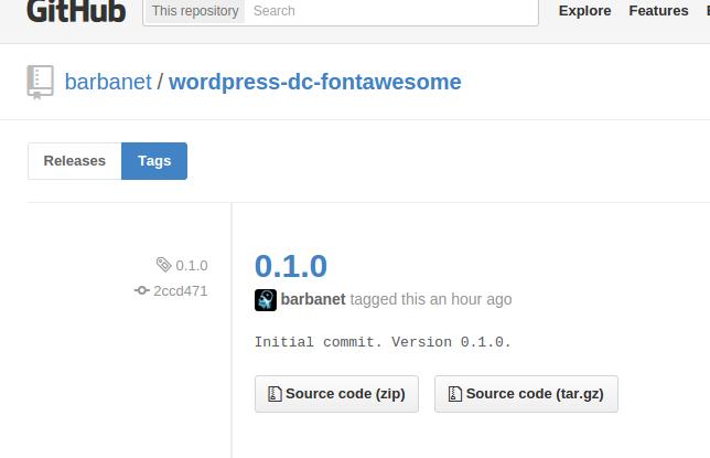 Versión 0.1.0 de DC_FontAwesome para WordPress