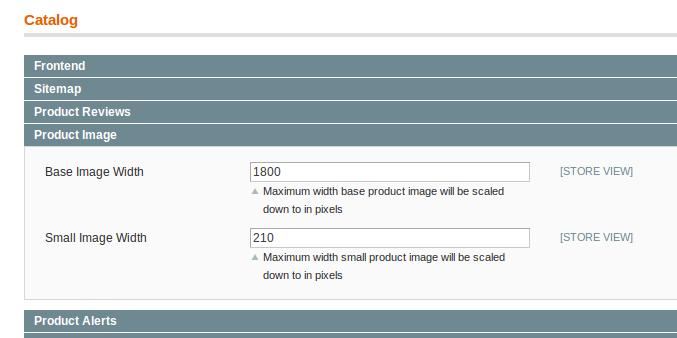 Tamaños de las imágenes de productos en Magento