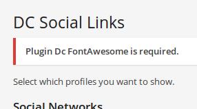 Mensaje de dependencias de Dc_SocialLinks