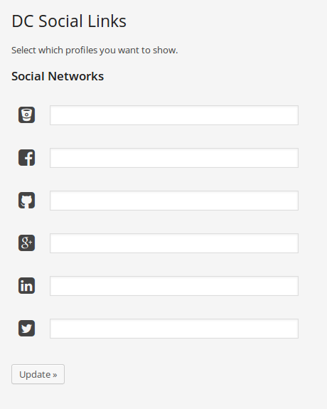 Configuración de links a redes sociales