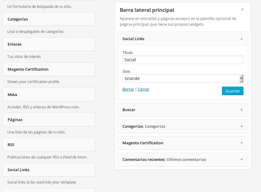 Configuración del widget de Dc_SocialLinks