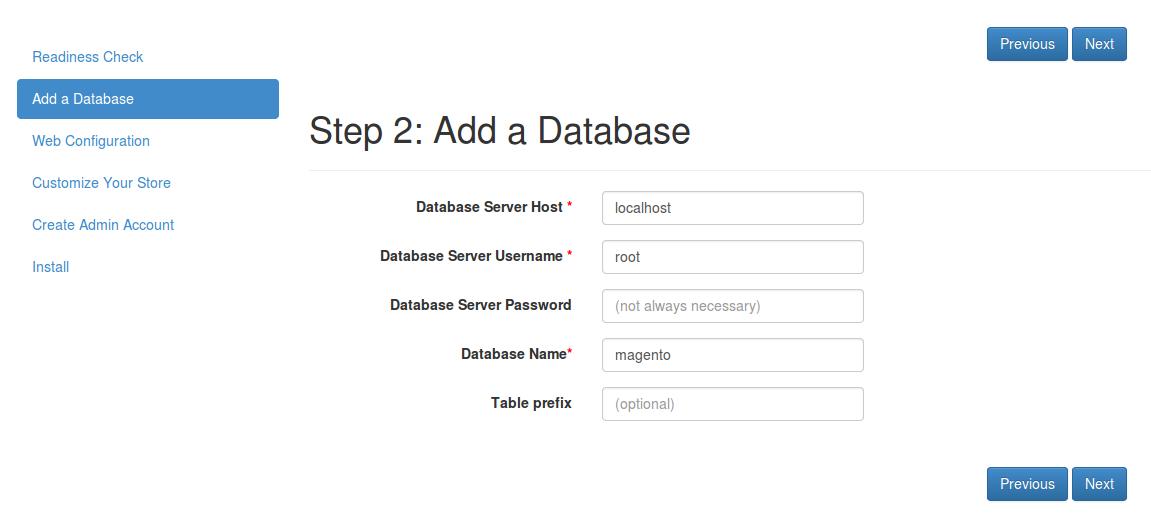 Configurar base de datos en Magento2