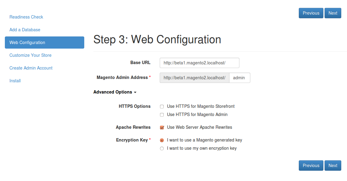 Configuración web de Magento2