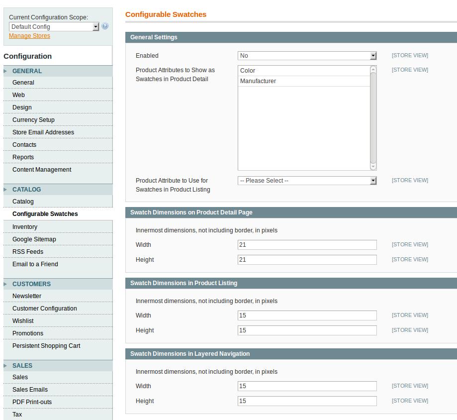 Configuración Configurable Swatches en Magento