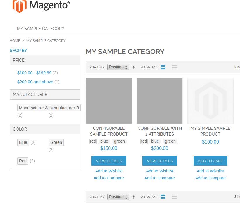 Vista de categoría con Configurable Swatches en Magento