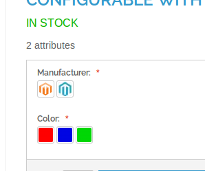 Vista de producto con Configurable Swatches en Magento
