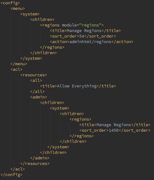 Adminhtml.xml de un módulo en Magento