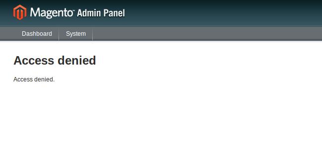 Acceso denegado en módulos custom de Magento