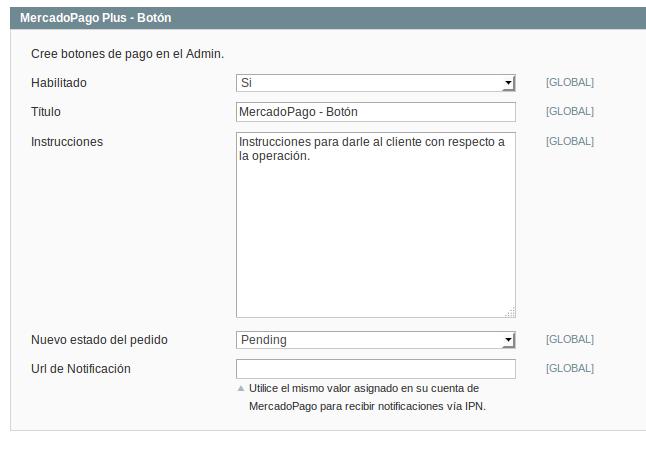 Opciones de configuración de pago con MercadoPago para Magento