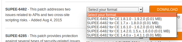 Descarga de SUPEE-6482 para Magento