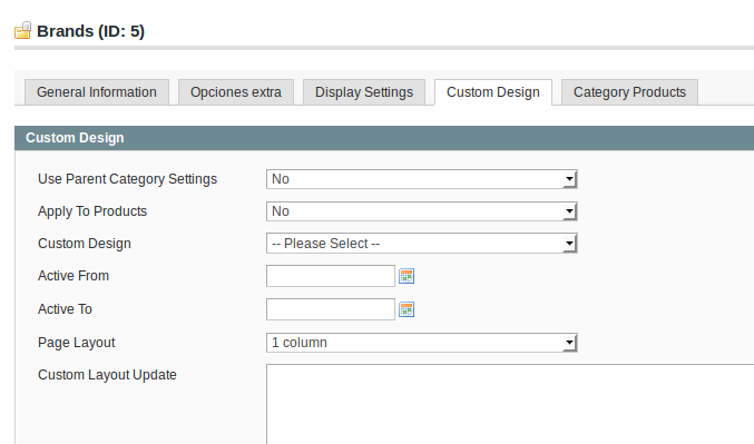 Configuración categoría para Dc_BrandManager