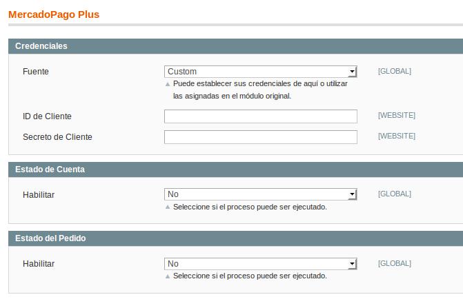 Configuración de Dc_MercadoPagoPlus 1.2.0 para Magento