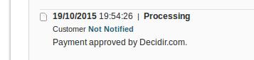 Confirmación de pago exitoso en Decidir.com y Magento