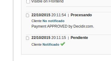Pedido aprobado por Decidir vía IPN