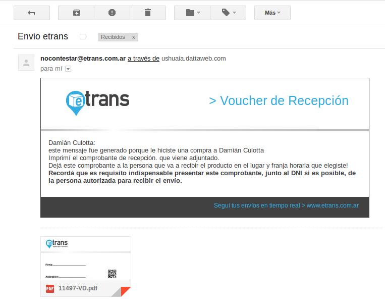 Email de envío de Etrans