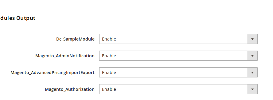 Listado de módulos habilitados en Magento2