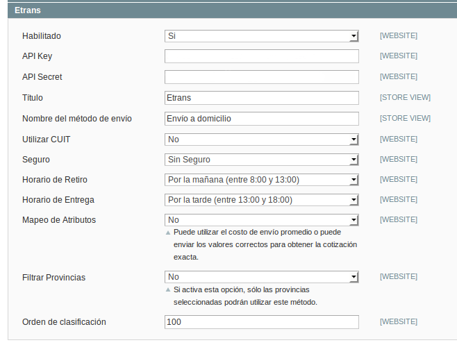 Configuración Dc_Etrans en Magento