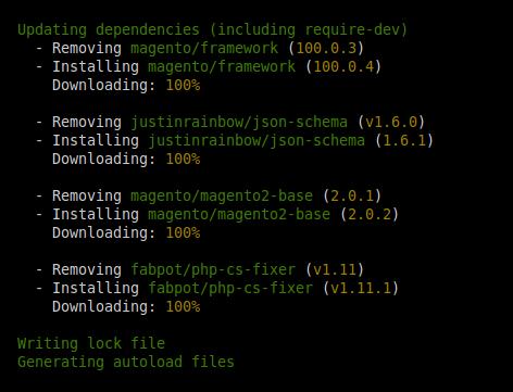 Paquetes actualizados en Magento 2.0.2