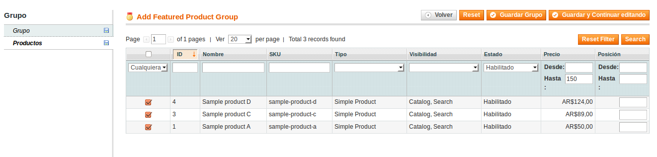 Asignación de productos en Dc_FeaturedProduct
