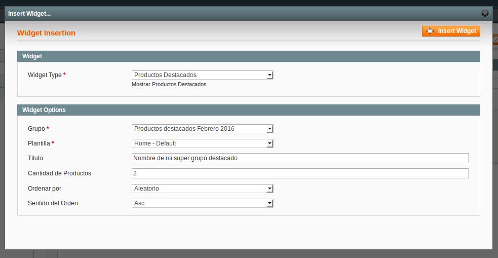 Configuraciónd el widget de Dc_FeaturedProduct