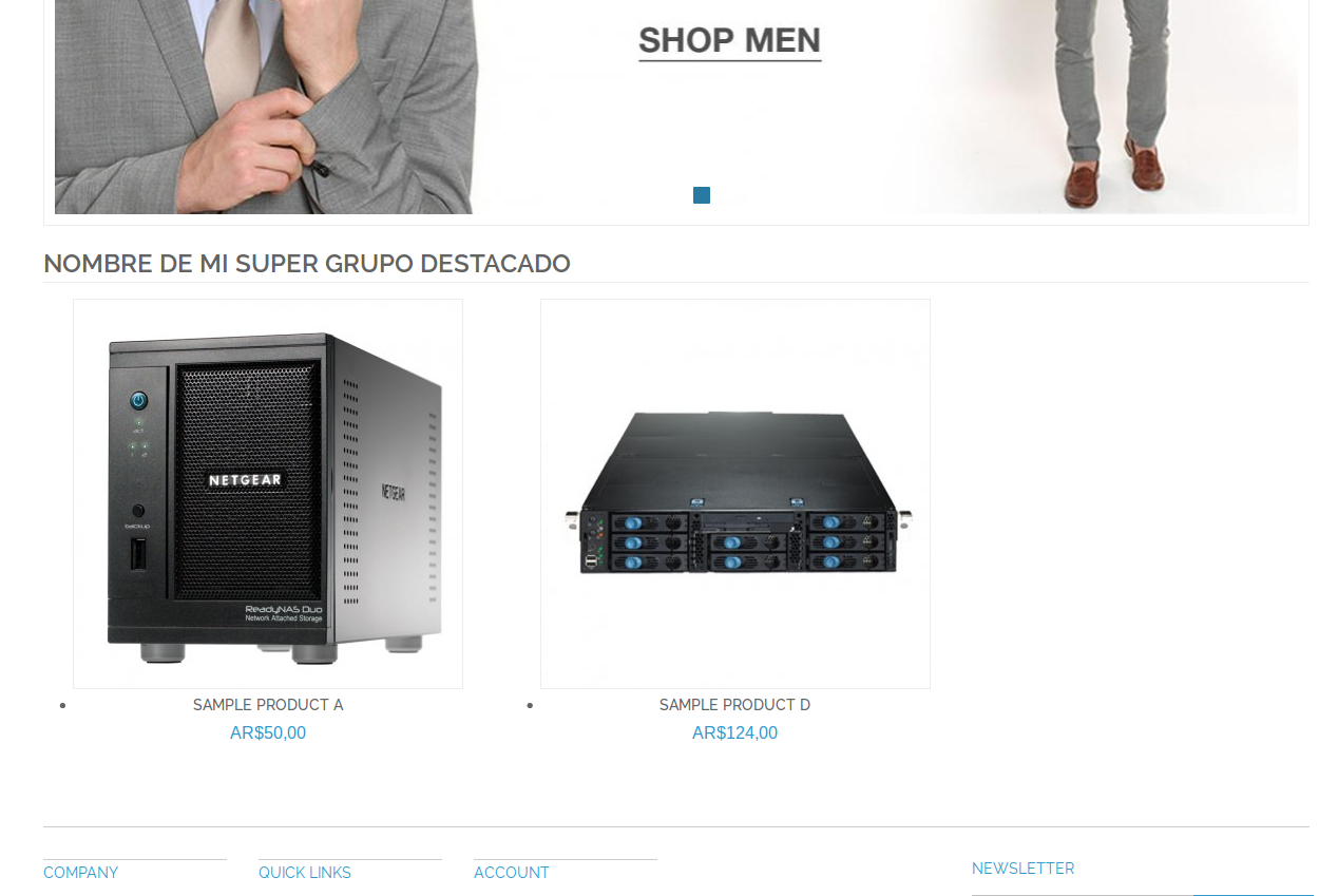 Home page con Dc_FeaturedProduct en Magento