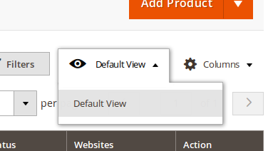 Selección de scope en la vista de Productos de Magento2