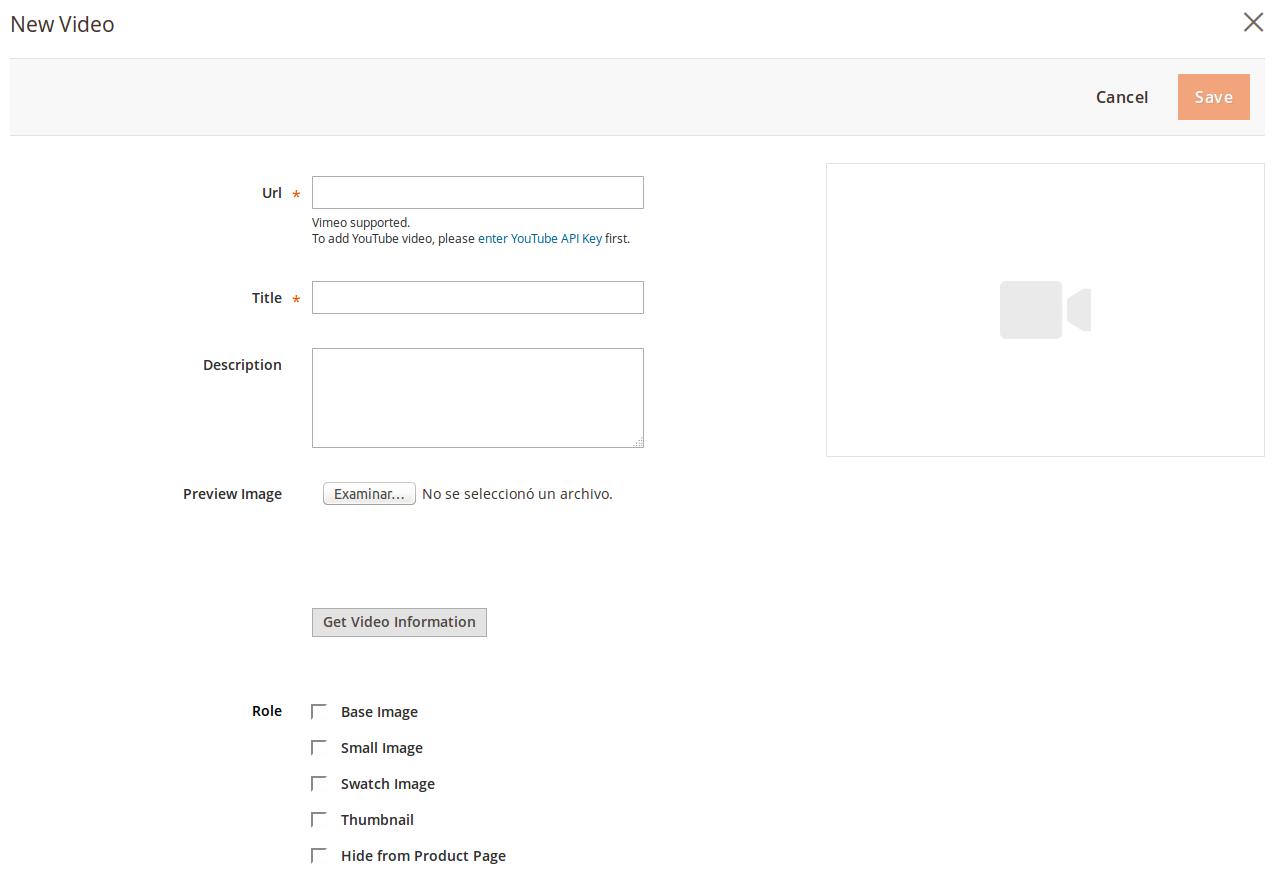 Agregando videos a los Productos en Magento2