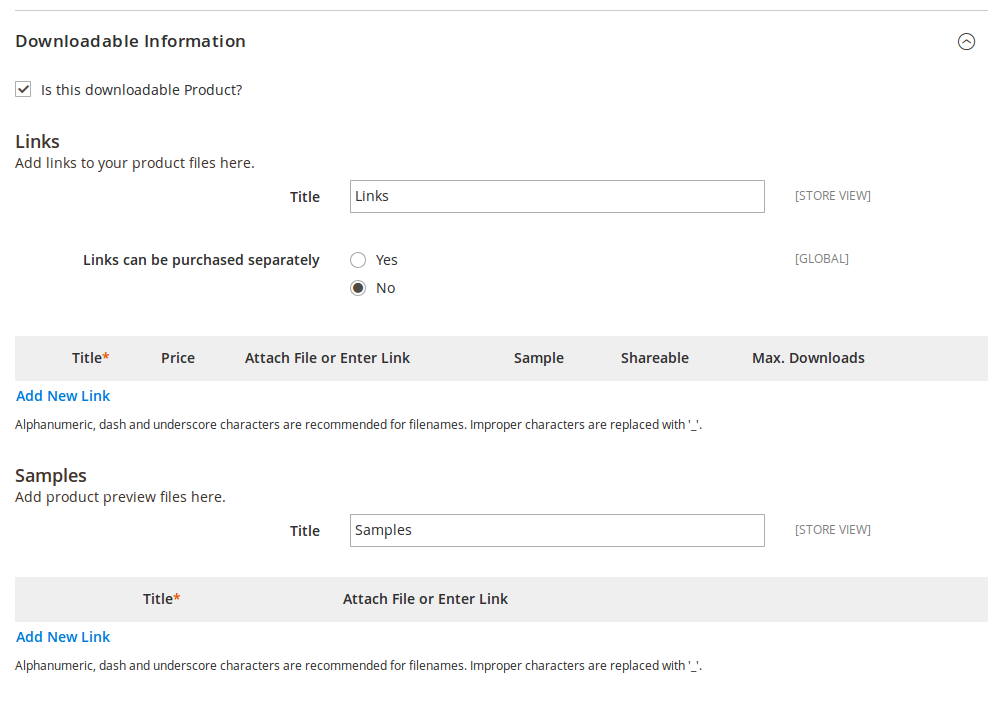 Opciones de Producto descargable en Magento2