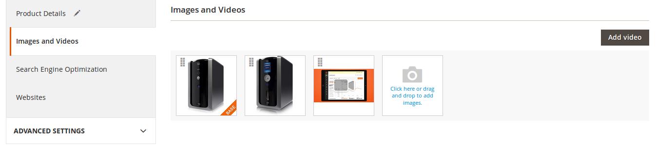 Imágenes y videos de un Producto en Magento2