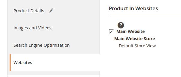 Configuración de sitios web para los Productos en Magento2