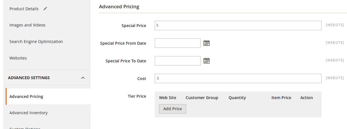 Configuración de precios en Magento2
