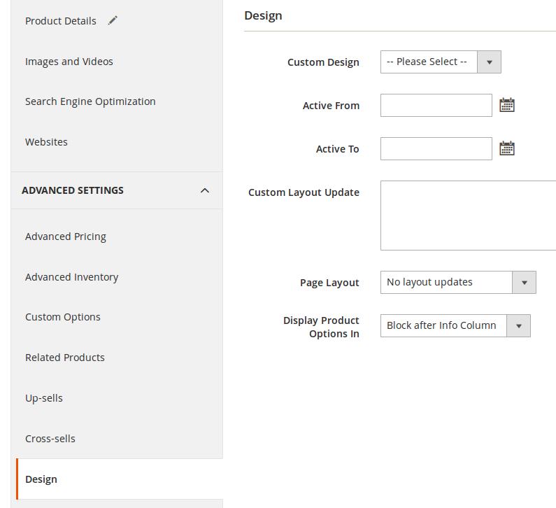 Configuración de diseño para los Productos en Magento2