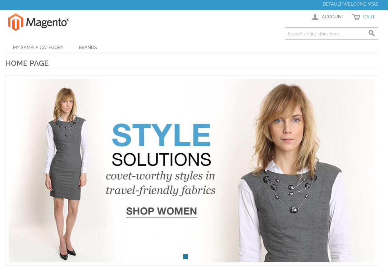 Home page de Magento