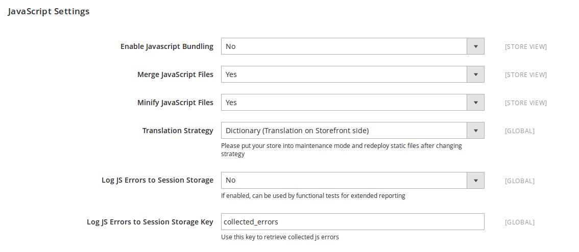 Opciones de configuración Javascript en Magento2