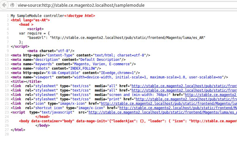 Código fuente de nuestro controller sin layout en Magento2