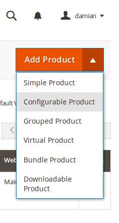 Selección de tipo de producto en Magento2