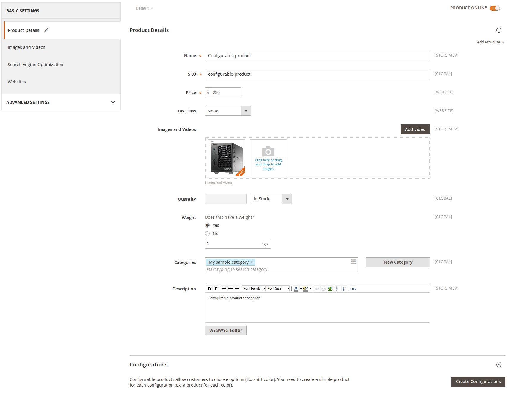 Creación de un producto Configurable en Magento2